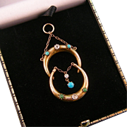 Antique Victorian Pendant with Two Crescent Moons, Three Diamonds, and Five Turquoises, 9ct ..