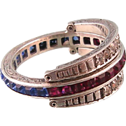 Art Deco Flip Ring, Sterling Silver with Diamond, Ruby, and Sapphire Pastes, Size 6-1/2