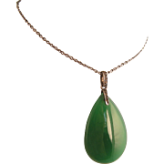 """Edwardian or Art Deco Chrysoprase and Paste Pendant on Long, 32"""" Chain, Sterling Silver,"""