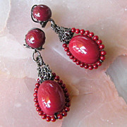 Dramatic Brick-Red Glass Dangling Earrings, France
