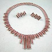 SALE Fabulous! Very Art Deco Rhinestone Necklace and Earrings Set