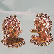 Exciting Greek Head Cufflinks with Marcasites in Sterling and 8K Pink Gold, 1961 Swank
