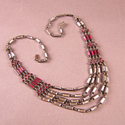 Beautiful Ruby Red and Clear Mirrored Glass Festoon Necklace