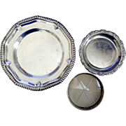 SALE Silver Plate and Sterling Trio: Small Decorative Plate and Wine Coasters
