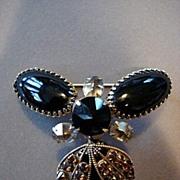 Schreiner Oversized Rhinestone Brooch/Pendant Necklace
