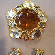 Schreiner of New York Pale Yellow Brooch & Earrings Set