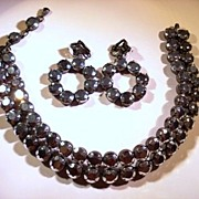 Awesome Silver Mirrored/Hematite Necklace & Earrings Set