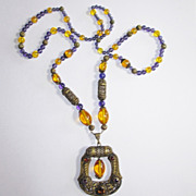 Purple & Yellow Glass Bead Filigree Czech Necklace