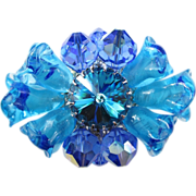 Vendome Brooch with Blue Art Glass