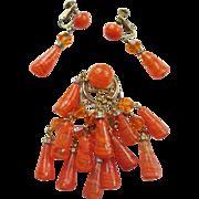 Fab Castlecliff Dangling Brooch & Earrings Set