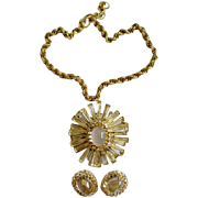SOLD Schreiner Ruffle Pin/Pendant Necklace & Earrings Set