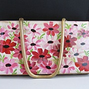 Vintage Flowers Lucite Compact Purse / Carryall