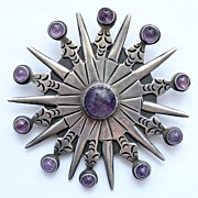 Huge Vintage Mexican Sterling Silver & Amethyst Pin