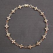 Vintage Sterling Silver & 14k Gold Filled Symmetalic Floral Necklace