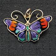 Vintage David Andersen Sterling Enamel Butterfly Charm / Pendant