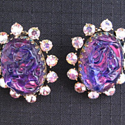 "Huge Vintage HOLLYCRAFT Purple ""Rock"" Earrings"