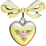 FABULOUS Vintage 1920's Sterling Enamel Heart Charm & Watch pin!