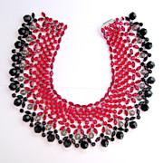 HUGE Vintage Red, Black & Smoke Rhinestone Collar / Bib Necklace