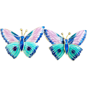 Vintage Sterling Silver Enamel Butterfly Earrings - Chinese Export