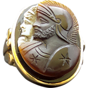 SALE HUGE 14k Gold Mens Double Cameo Agate Ring