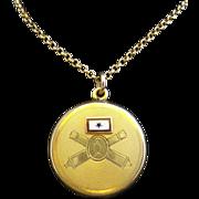 Vintage WWII Gold Filled Son In Service Enamel Army Sweetheart Locket