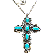 Vintage R Platero Native American Pawn/Coin/Sterling Turquoise Cross Necklace