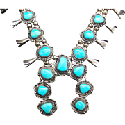 Vintage Navajo Old Pawn/Sterling Silver Turquoise Squash Blossom Necklace 155g