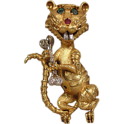 18K Diamond Tiger Cat Diamond Pin Signed