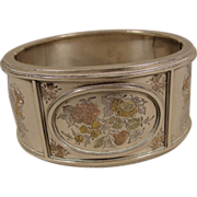 Victorian Sterling Gold Floral Bangle Bracelet