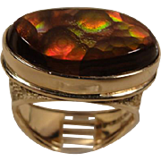14K Mexican Opal Modernist Macefield Ring
