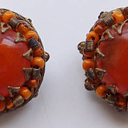 Haskell Bright Tangerine Orange Art Glass Cab & Seed Bead Earrings