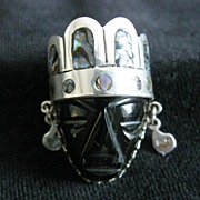 SALE Sterling Silver Mexican Mask Brooch