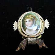 SALE Victorian Gold-Filled Pendant with Miniature Of Queen Louise