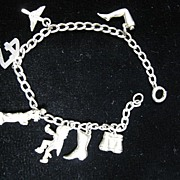 SALE Vintage Sterling Silver Charm Bracelet With 7 Charms