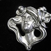 SALE Victorian Art Nouveau Sterling Brooch Of A Maiden