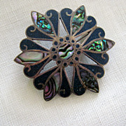 SALE Reduced, PIn/Pendant, Taxco Mexican sterling, abalone, blue stone, 925, silhouetted eagle