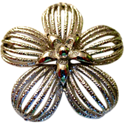 REDUCED Reduced! Monet silver pedal flower with a star center vintage 60-70s, large