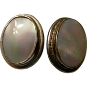 REDUCED Reduced, Becky Thatcher clip earrings, mother of pearl, sterling