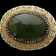 REDUCED Reduced Jade brooch/pendant/ gold vermeil over sterling/ Karen Lynne/ 50s
