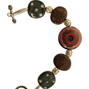 REDUCED Reduced Bracelet, African Kazuri pottery beads with filigree silver, rose, tan, blue .