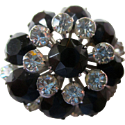 """REDUCED Rhinestone pin, 1950s black french jet and clear rhinestones 1.25"""" in diameter"""