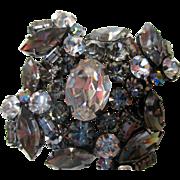 "REDUCED Reduced Austrian rhinestone pin,  2"", tiered, domed, vintage aurora borealis"