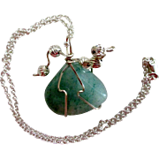 REDUCED Reduced Sterling Silver and Zimbabwe Green Adventurine Necklace.  Wrapped in sterling