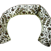 Reduced Peter Pan collar, from India, metal and and beaded embroidery, 15""