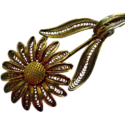 REDUCED Reduced Delicate and beautiful vintage  filigree sunflower pin