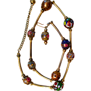 REDUCED On Sale:  Vintage necklace, cloisonné beads and gold washed tubes on a golden chain,