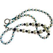 "REDUCED Reduced Artisan Original necklace, 30"" long, Pearls, Turquoise and Black glass be"