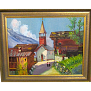 On sale  Oil painting of a skinny street in a  Swiss village , mid century, Ruth ...