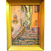 REDUCED price slashed/  Oil painting of the Amalfi Coast town, from 60's, Ruth S Proctor,