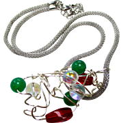 REDUCED Reduced Silvery cloud necklace, glass beads, a silver wire free form style pendant, 22
